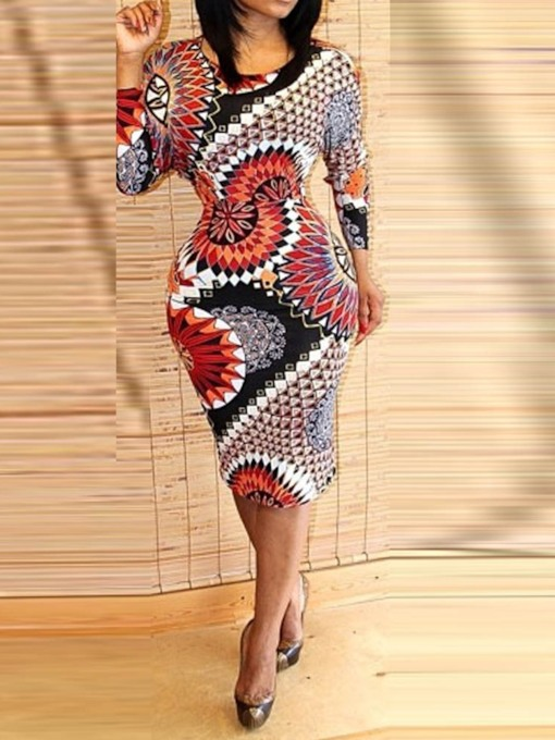 Round Neck Long Sleeve Print Pullover Women's Bodycon Dress
