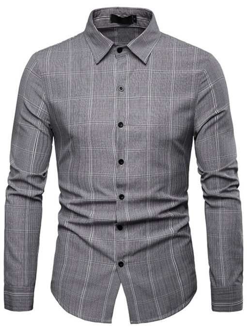 Casual Plaid Lapel Slim Men's Shirt