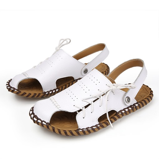 Plain Low-Cut Upper Flat Heel Slip-On Hollow Men's Sandals