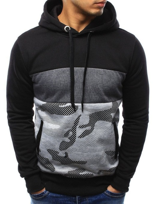 Camouflage Pullover Patchwork Pullover Men's Hoodie