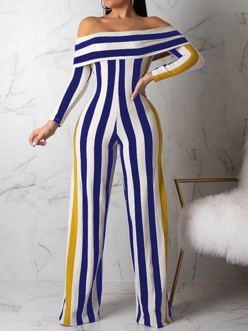 Casual Full Length Color Block Slim Women's Jumpsuit