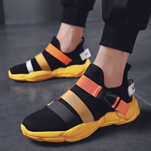 Flat Low-Cut Upper Buckle Mesh Men's Sneakers