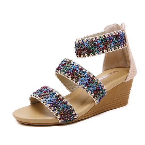 Heel Covering Open Toe Wedge Heel Zipper Color Block Sandals