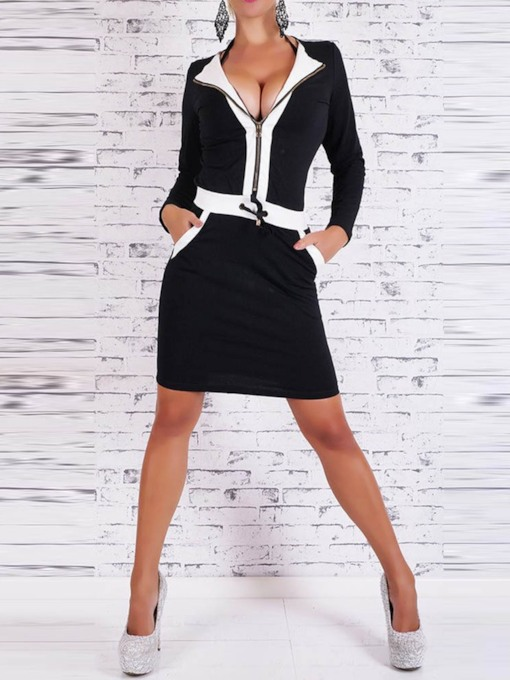 Patchwork Color Block Bodycon Women's Long Sleeve Dress
