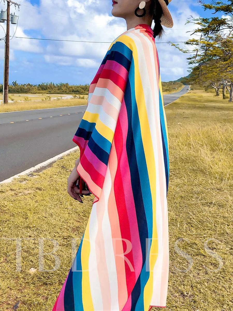 Stripe 100-136cm Polyester Women's Cover-Ups