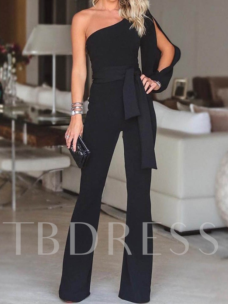 Full Length Office Lady Plain Lace-Up Straight Women's Jumpsuit