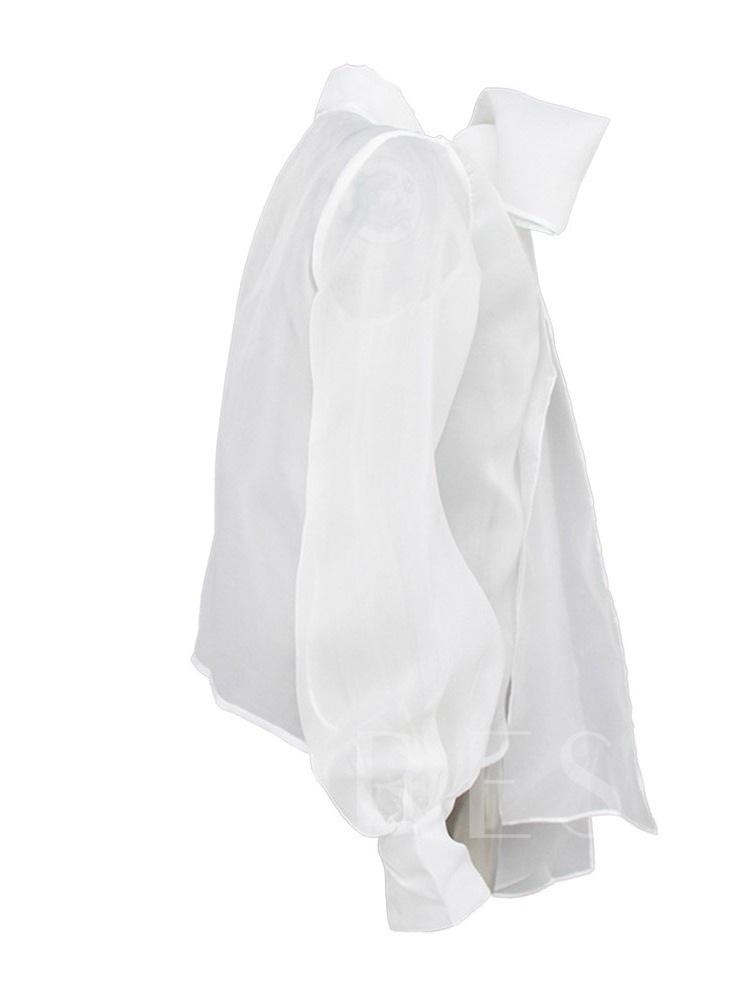 Puff Sleeve Stand Collar Bowknot See-Through Women's Blouse