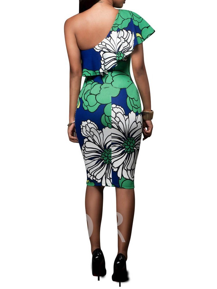 Patchwork Sleeveless Floral Prints Women's Bodycon Dress