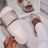 Slip-On Flat With Rhinestone Flip Flop Glitter Slippers
