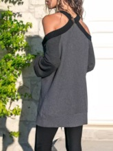 Loose Cold Shoulder Pullover Women's Sweater