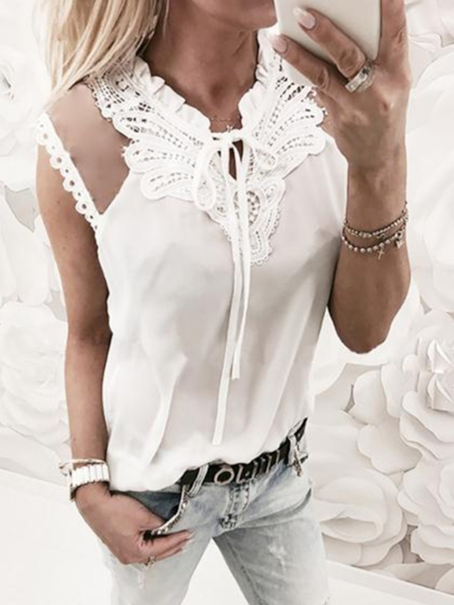 Lace See-Through Short Sleeve Women's T-Shirt