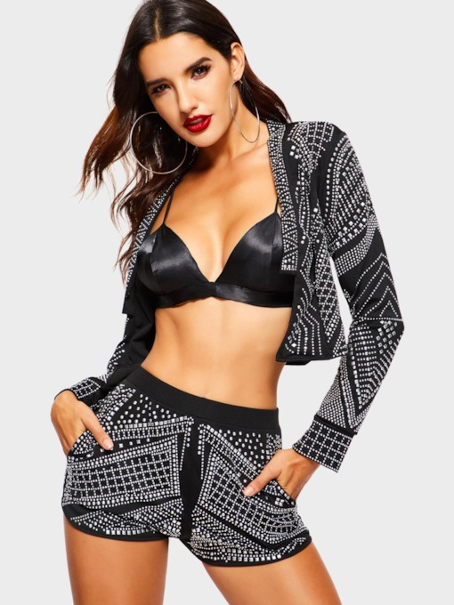 Geometric Shorts Party/Cocktail Bead Women's Two Piece Sets