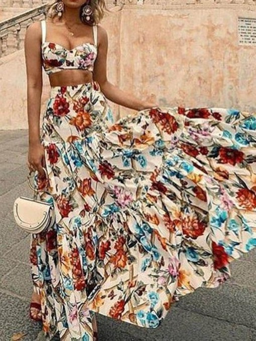 Beach Look Print Floral Vest Expansion Women's Two Piece Sets