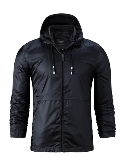 Hooded Plain Lace-Up Spring Men's Jacket