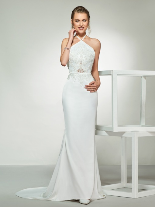 Halter Backless Appliques Mermaid Wedding Dress 2019