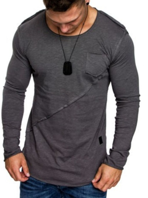 Casual Round Neck Pocket Plain Long Sleeve Men's T-shirt