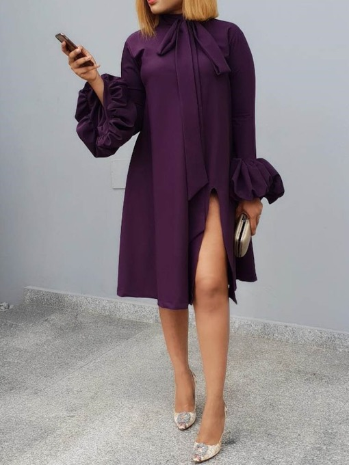Split Plain Bowknot Straight Women's Long Sleeve Dress
