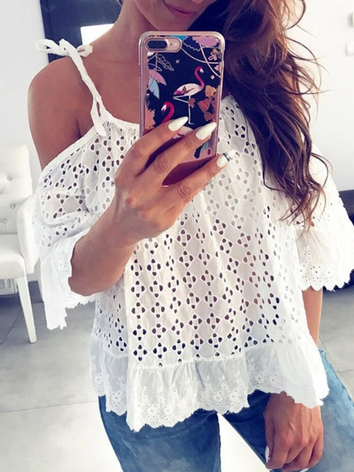 Lace Hollow Off Shoulder Women's Blouse