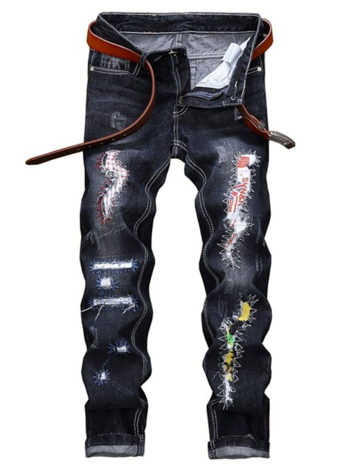 Patchwork Straight Color Block Zipper Men's Jeans