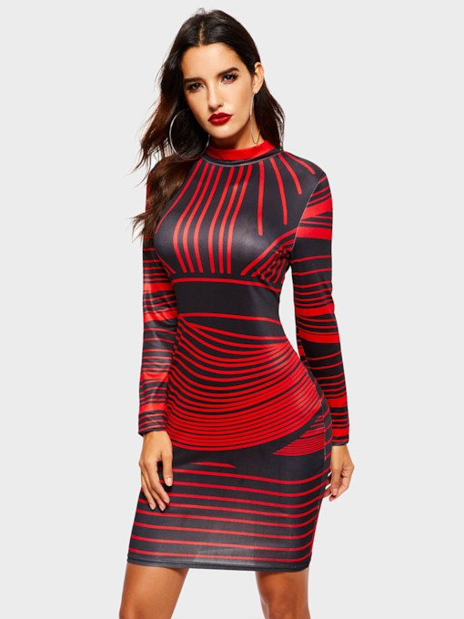 Stripe Long Sleeve Color Block Women's Bodycon Dress