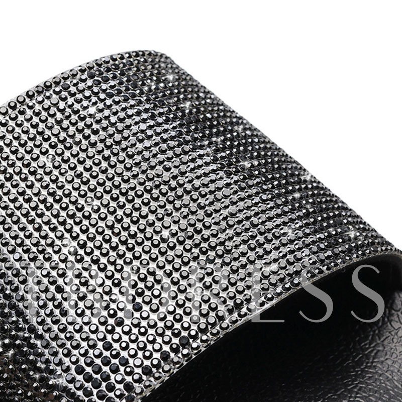 Slip-On Flat Rhinestone PU Women's Slippers