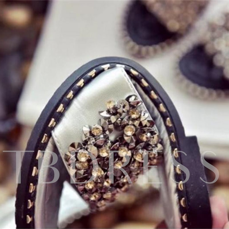 Rhinestone Flat Slip-On Summer Slippers