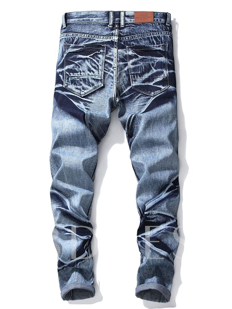 Worn Zipper Men's Jeans