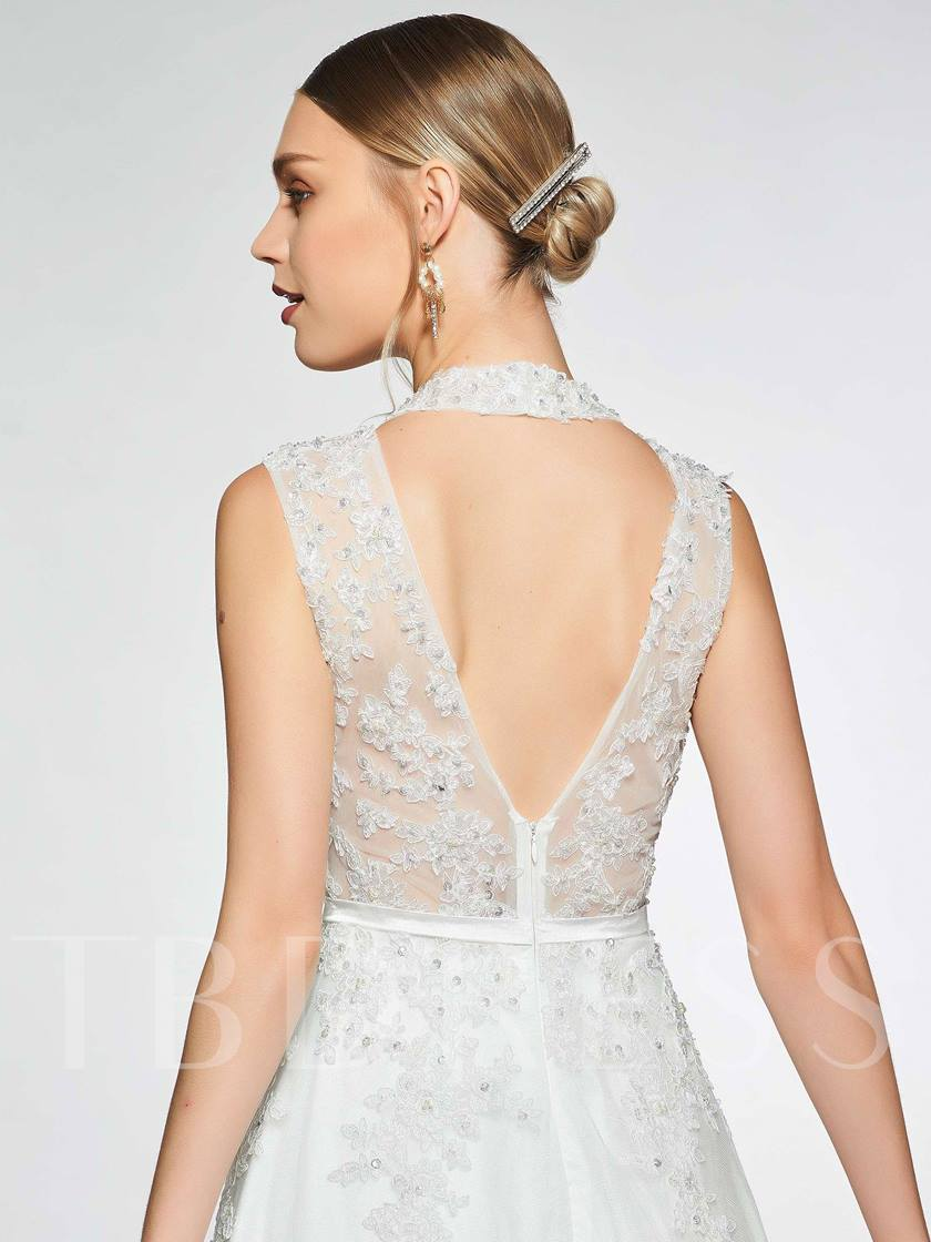 Hollow Back Sequins Appliques Wedding Dress 2019