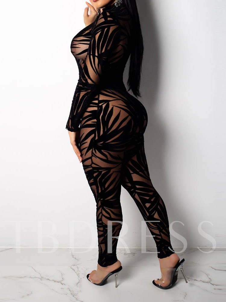 Plant Party/Cocktail Full Length See-Through High Waist Women's Jumpsuit