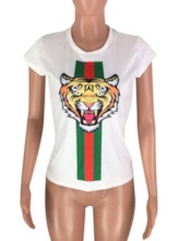 Slim Scoop Neck Tiger Print Women's T-Shirt