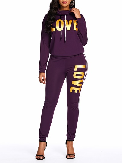 Hoodie Casual Print Letter Womens Two Piece Sets Hoodie Casual Print Letter Women's Two Piece Sets