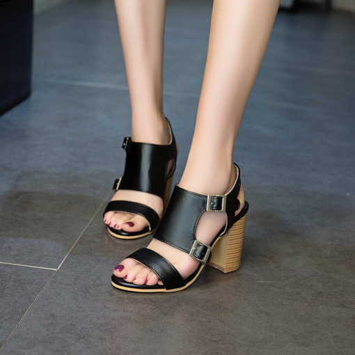 Buckle Open Toe Chunky Heel Strappy Casual Sandals