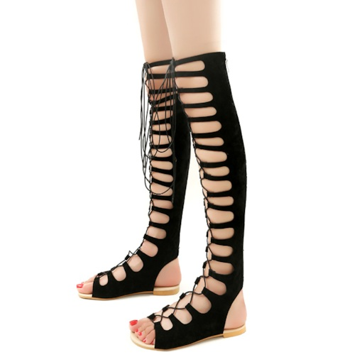 Open Toe Flat Zipper High Shaft Gladiator Sandals