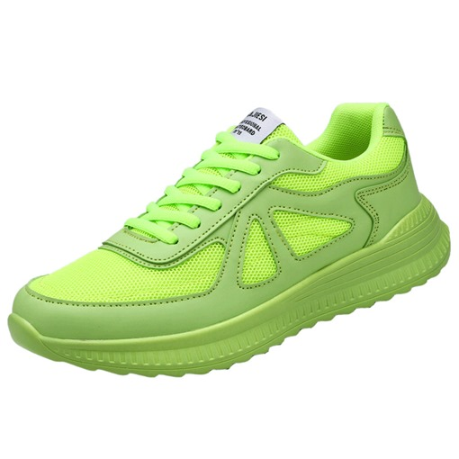 Neon Lace-Up Low-Cut Upper Flat Mesh Sneakers for Men
