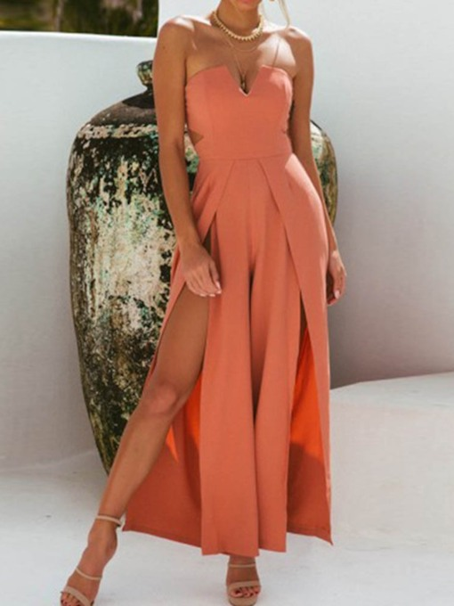 Plain Casual Full Length Hollow Wide Legs Women's Jumpsuit
