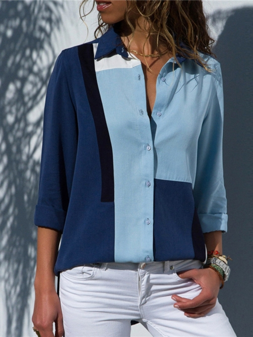 Loose Color Block Mid-Length Women's Shirt