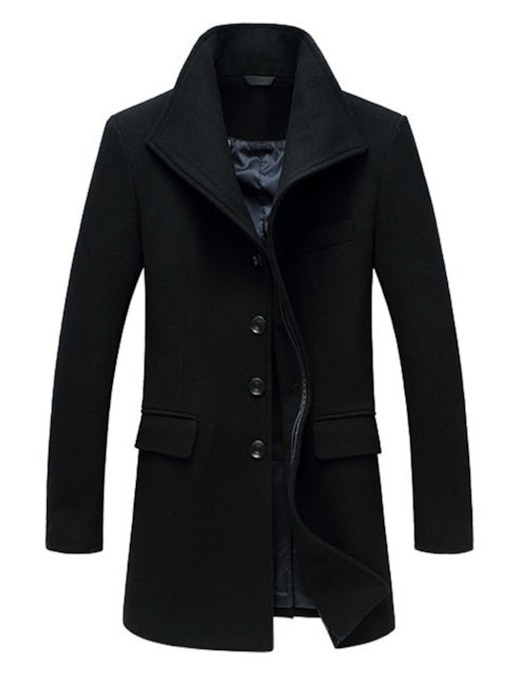 Lapel Mid-Length Plain Winter Men's Coat