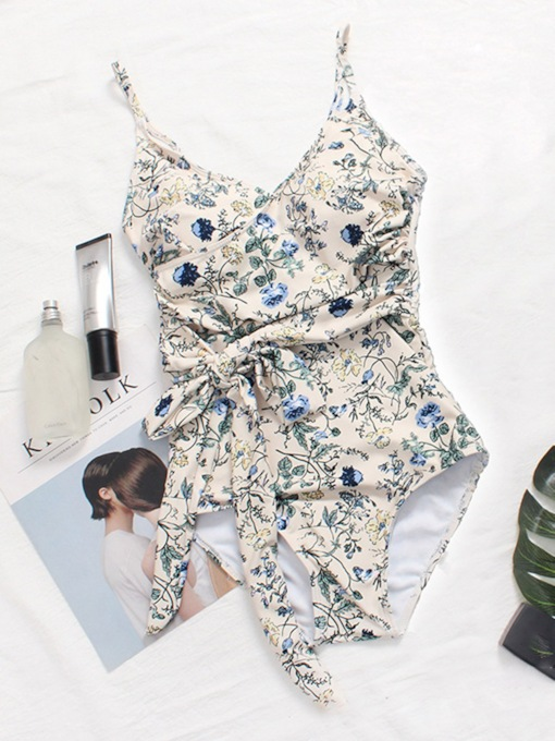 One Piece Floral Sexy Lace-Up Women's Swimwear