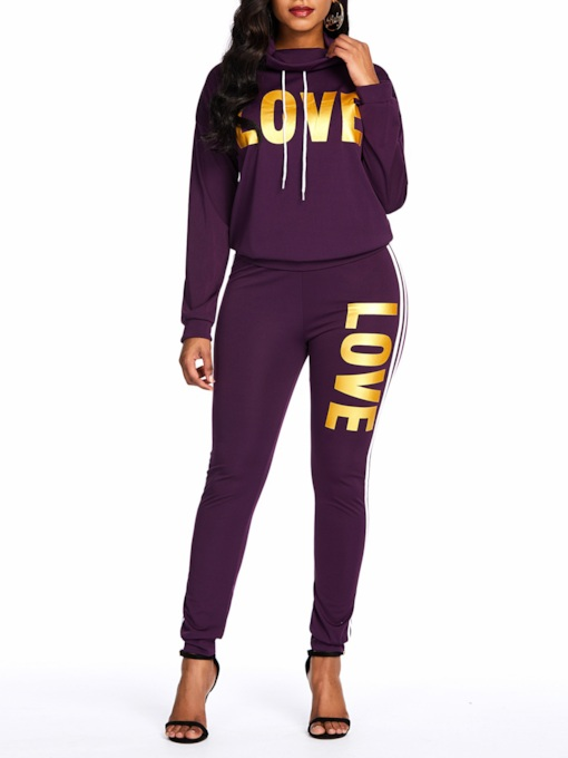 Hoodie Casual Print Letter Women's Two Piece Sets