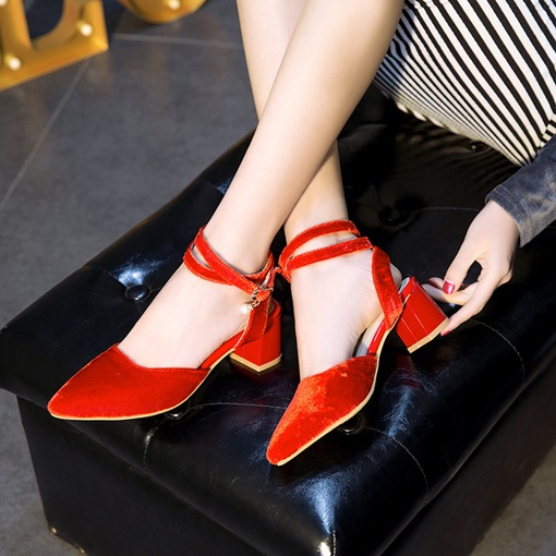 Buckle Ankle Strap Pointed Toe Chunky Heel Casual Sandals