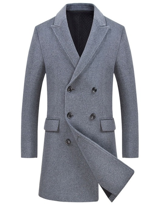 Mid-Length Plain Double-Breasted Men's Coat