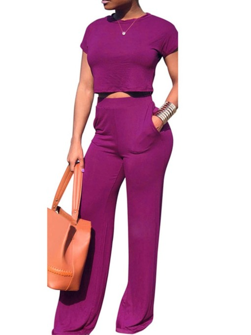 Pocket Casual Plain Pants Round Neck Women's Two Piece Sets