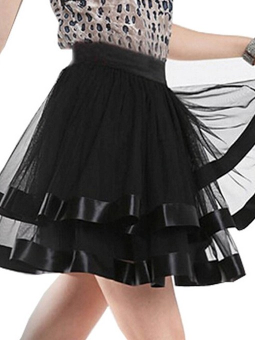 Plain Mesh Mini Skirt Ball Gown Mid Waist Women's Skirt
