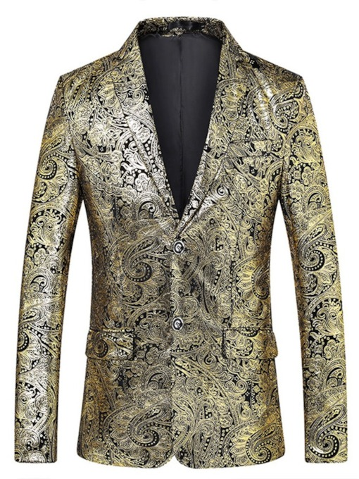 Print Notched Lapel Floral Single-Breasted Men's Blazer