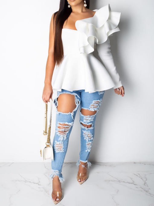 Asymmetric Plain Falbala Backless Women's Blouse