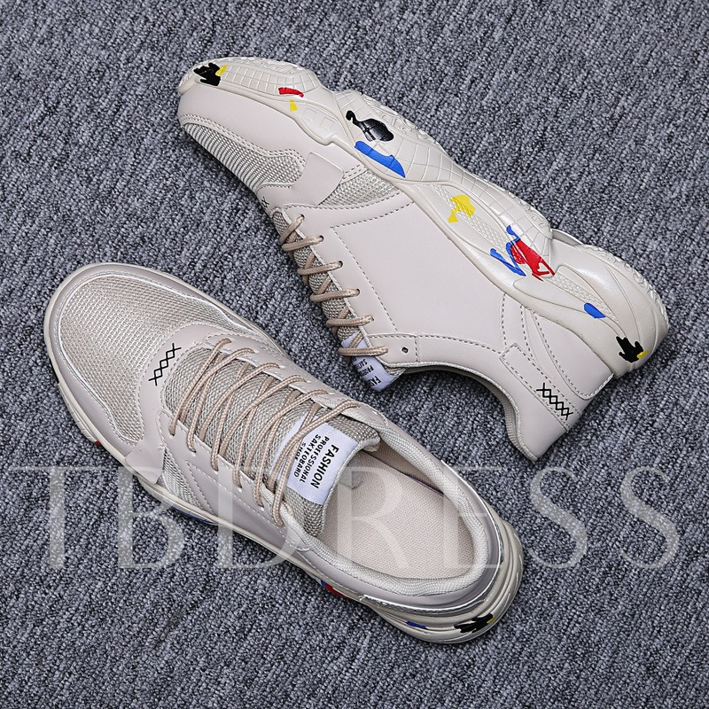 Low-Cut Upper Lace-Up Round Toe Plain Men's Sneakers