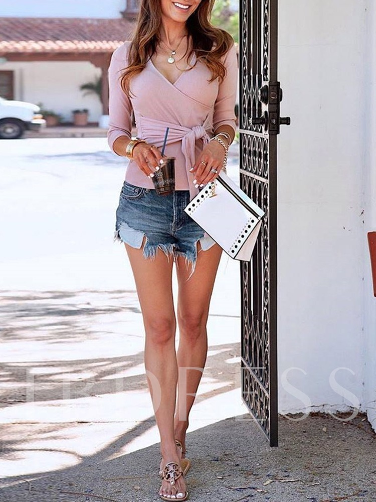 Thread V-Neck Slim Lace-Up Women's Sweater
