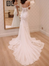 Button Off the Shoulder Mermaid Lace Wedding Dress