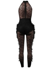 Party/Cocktail Full Length Plain Feather Skinny Women's Jumpsuit