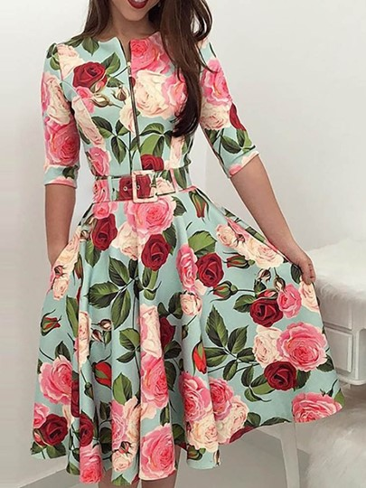 African Fashion Half Sleeve Floral Print A-Line Womens Day Dress African Fashion Half Sleeve Floral Print A-Line Women's Day Dress